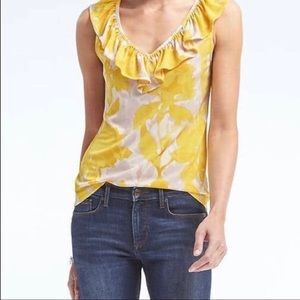 Banana Republic Large Floral Tank Grey Yellow